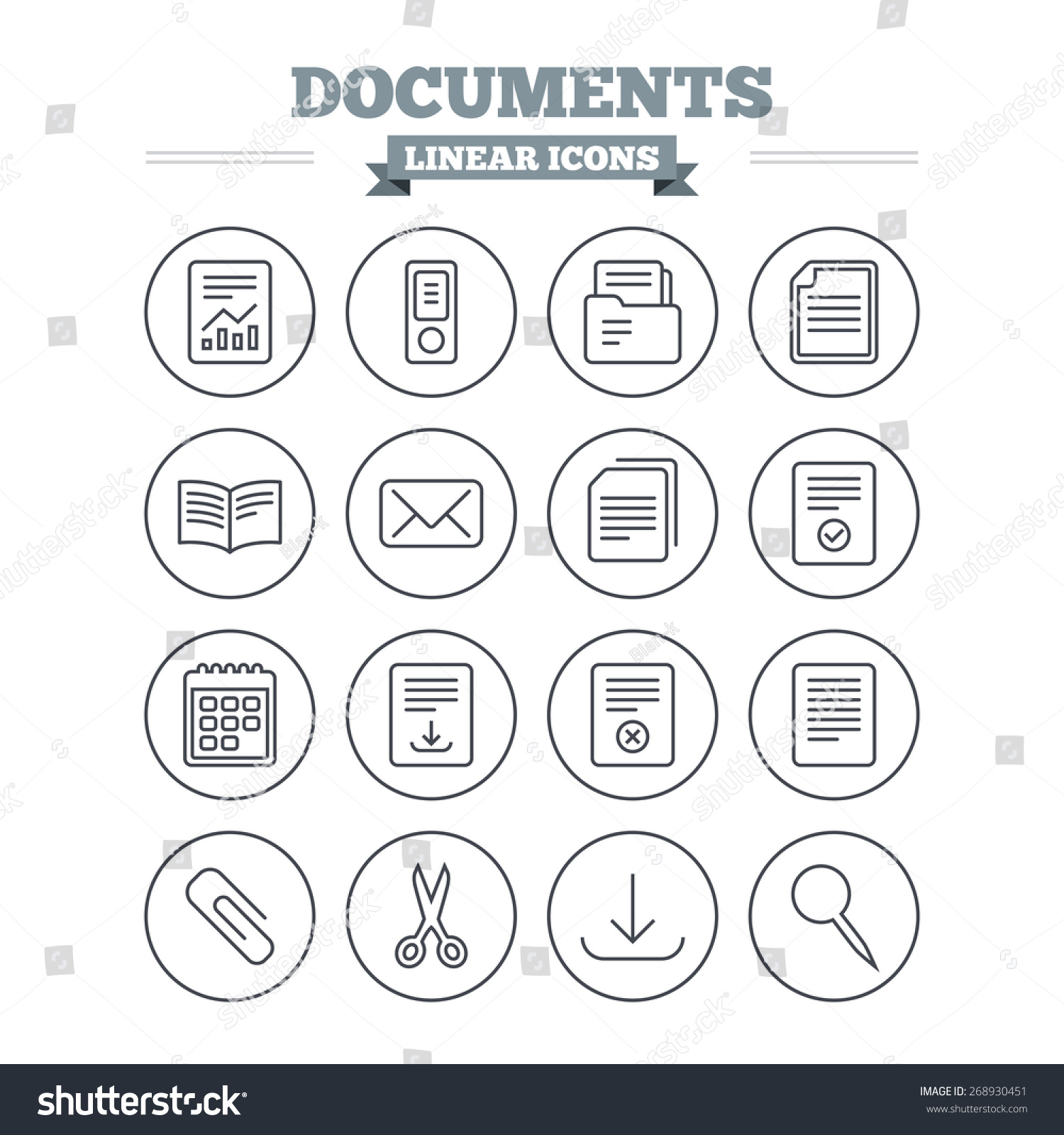 Documents Linear Icons Set Accounting Book Stock Vector Hd Royalty Rh Shutterstock Com Symbols Clip Art Ledger