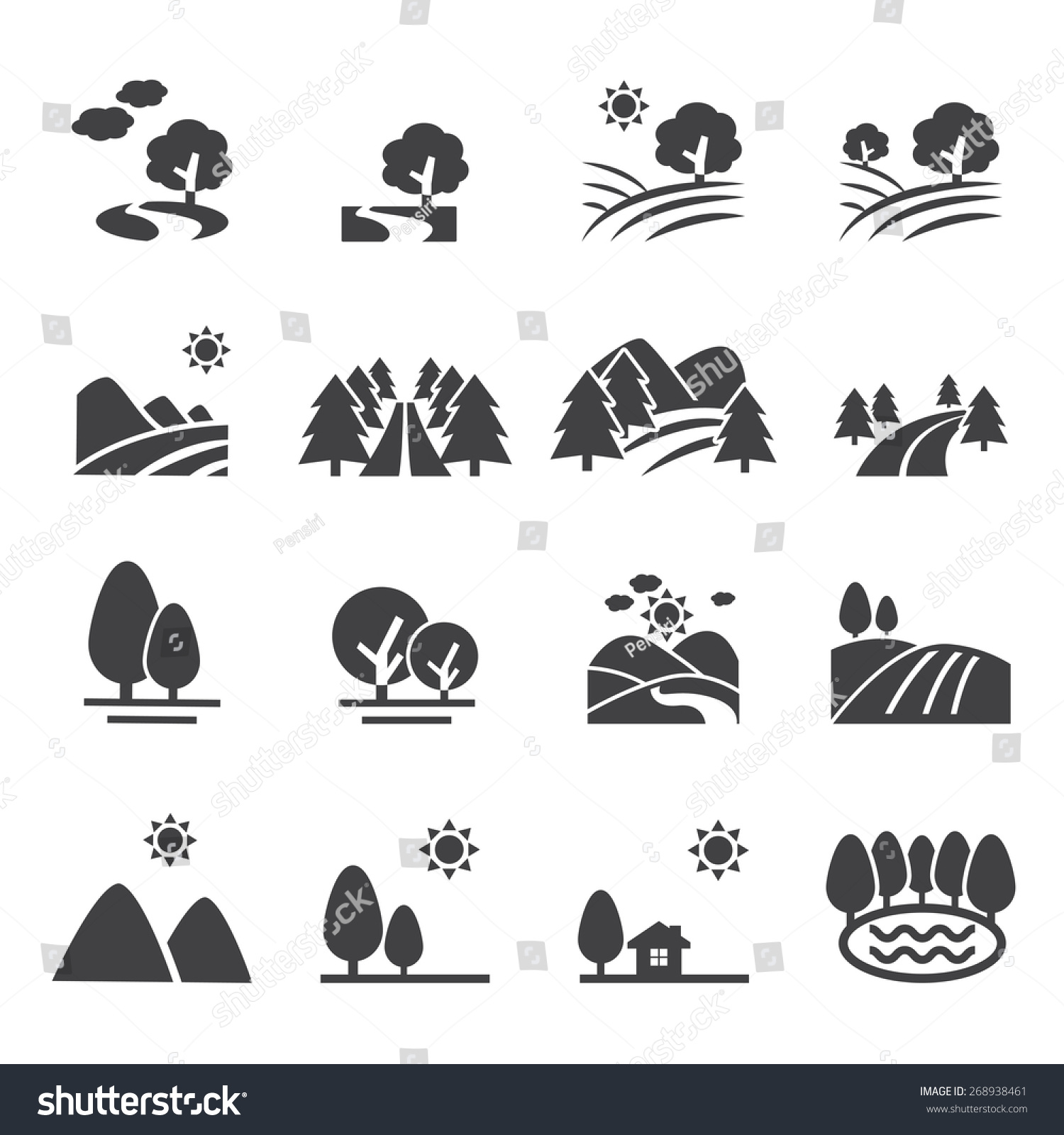 Landscape Icon Stock Vector 268938461 Shutterstock