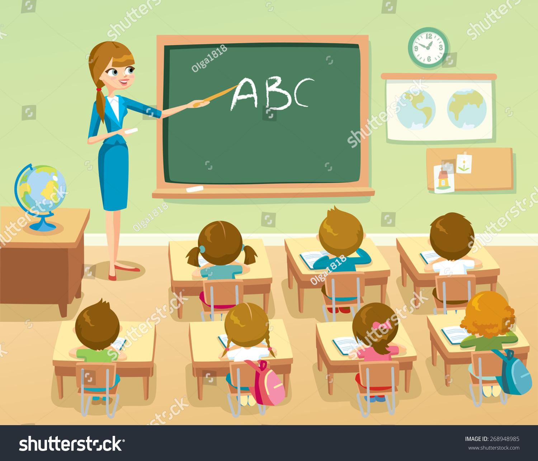 Teacher by blackboard pupils classroom stock vector 268948985 teacher by blackboard with pupils in the classroom stopboris Image collections