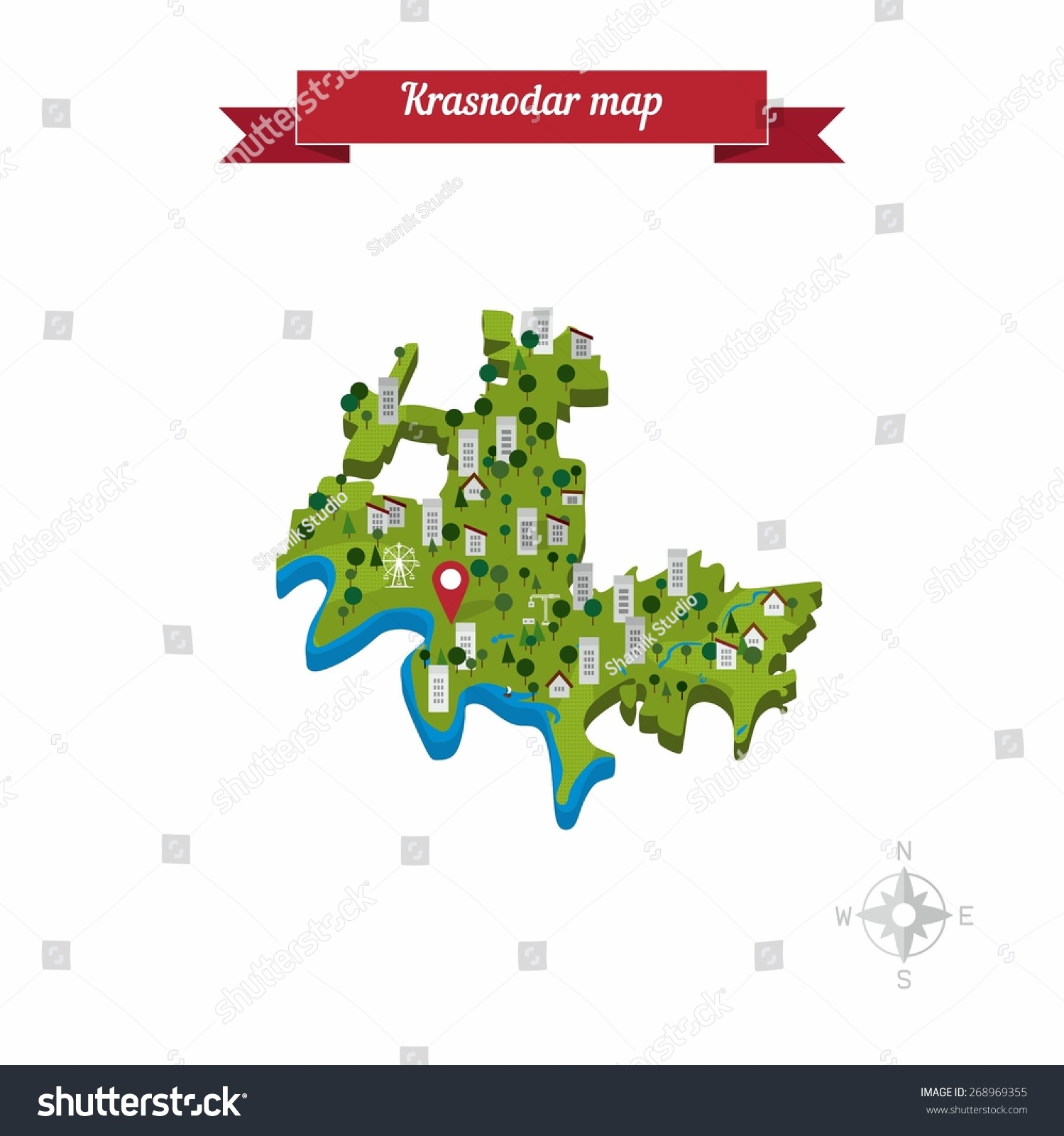 Krasnodar Russia Map Flat Style Design Stock Vector HD Royalty Free