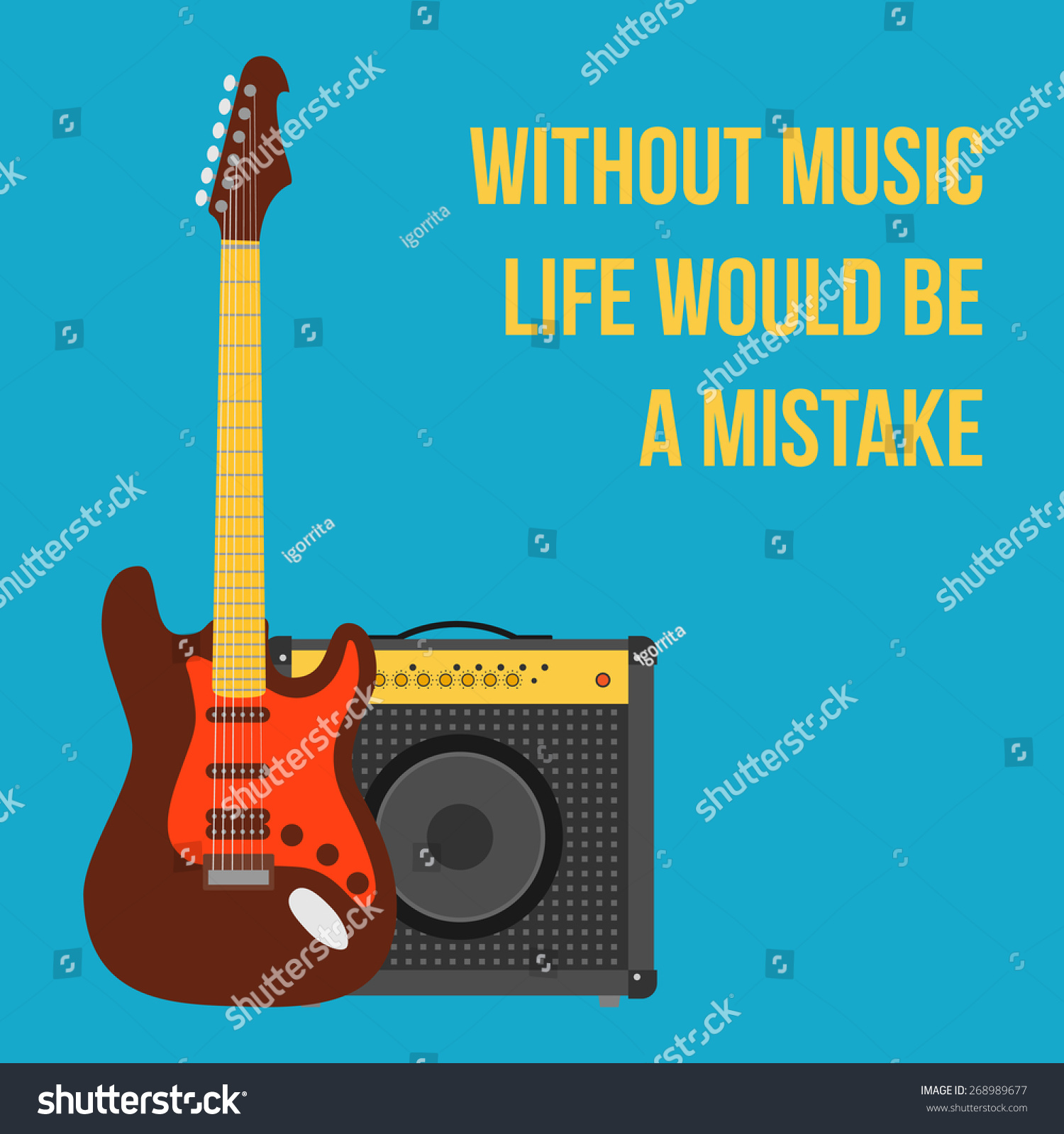 music background electric guitar amplifier flat stock