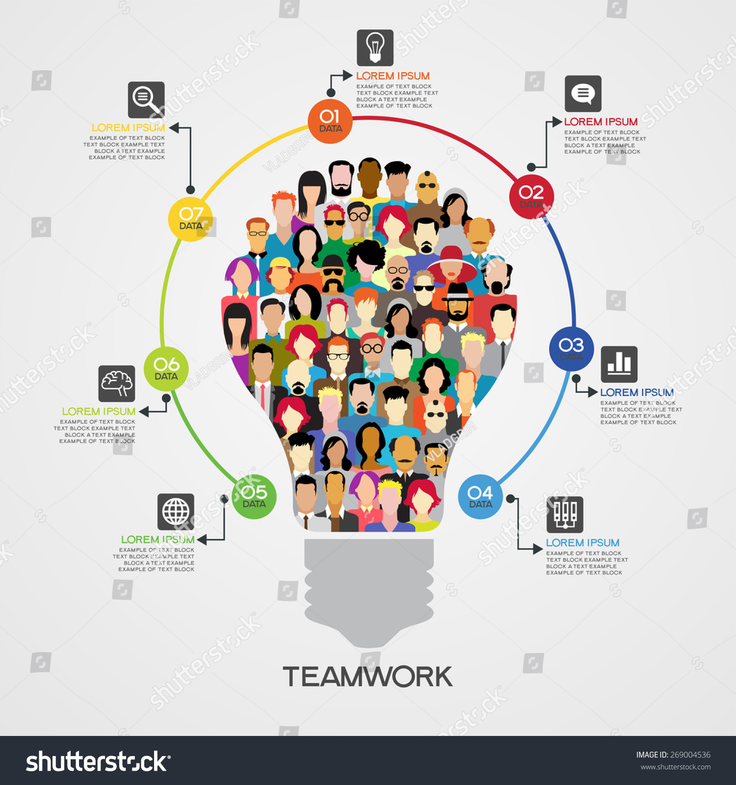 teamwork infographics background icons people form stock vector teamwork infographics background icons of people in the form of a light bulb surrounded interface