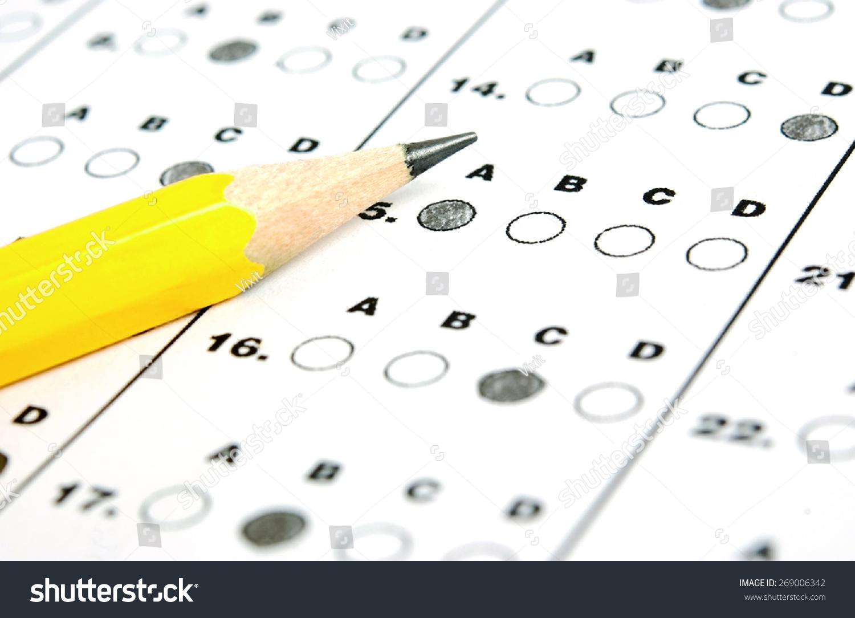 pencil sitting on test bubble sheet stock photo 269006342