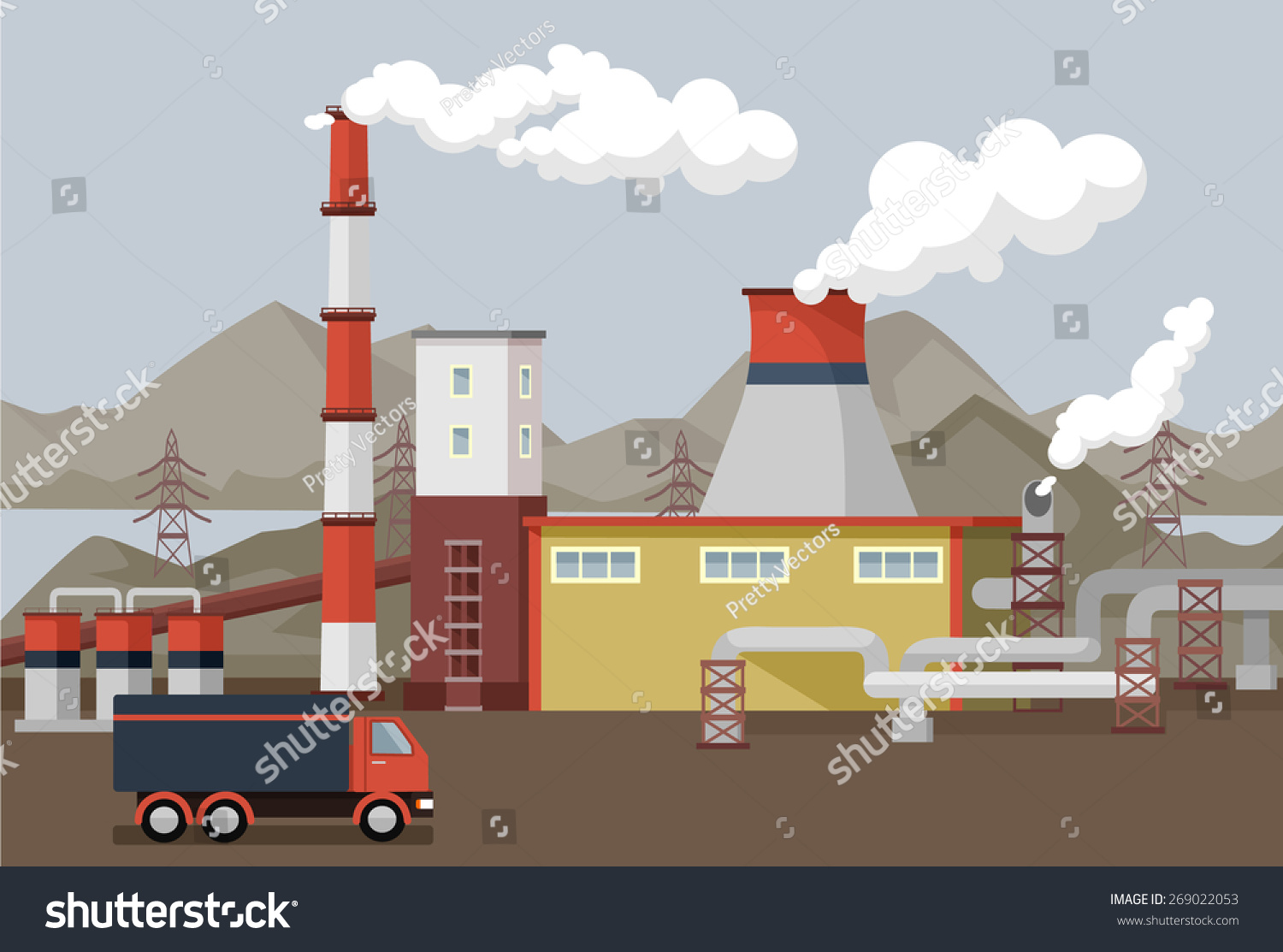 Vector Flat Factory Illustration Stock Vector 269022053 ...