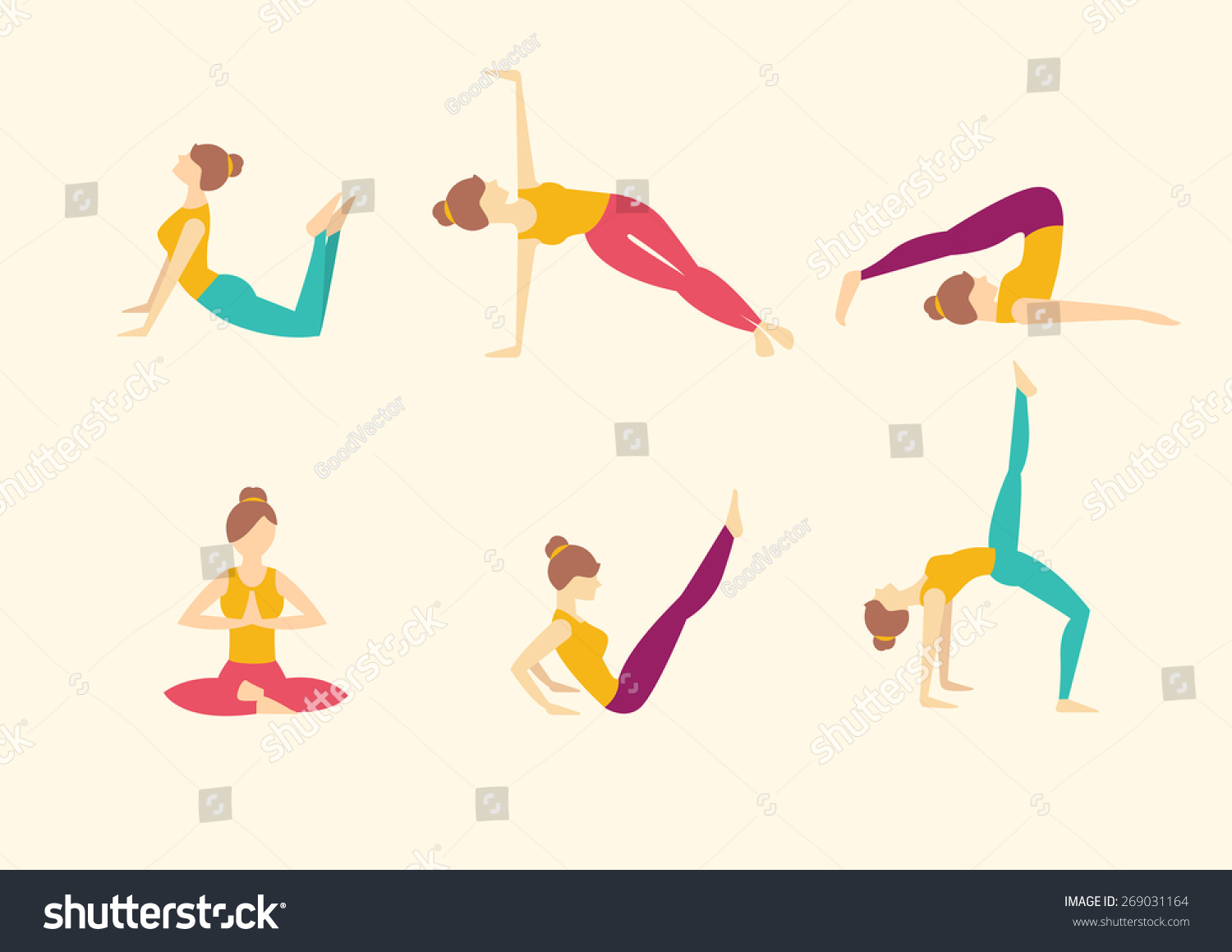 Girl Does Yoga Exercises Healthy Lifestyle Stock Vector 269031164 ...