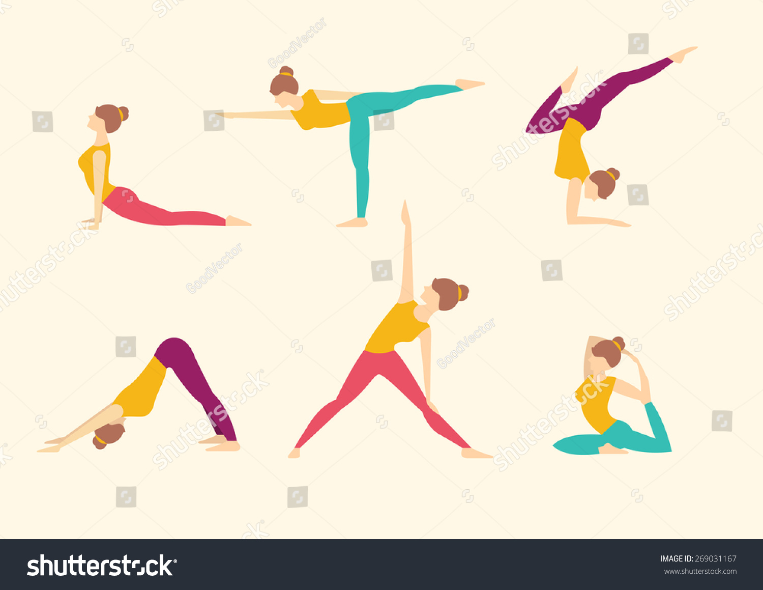 Girl Does Yoga Exercises Healthy Lifestyle Stock Vector 269031167 ...