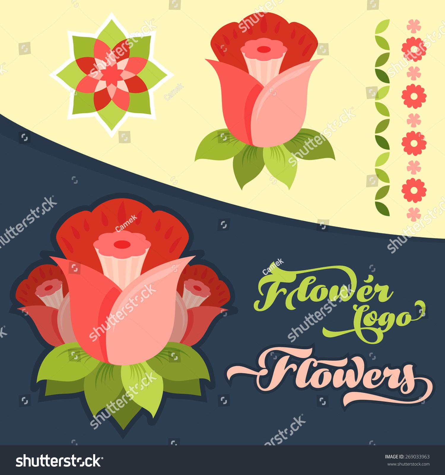 Simple Beautiful Flower Logo Set Stock Vector Royalty Free
