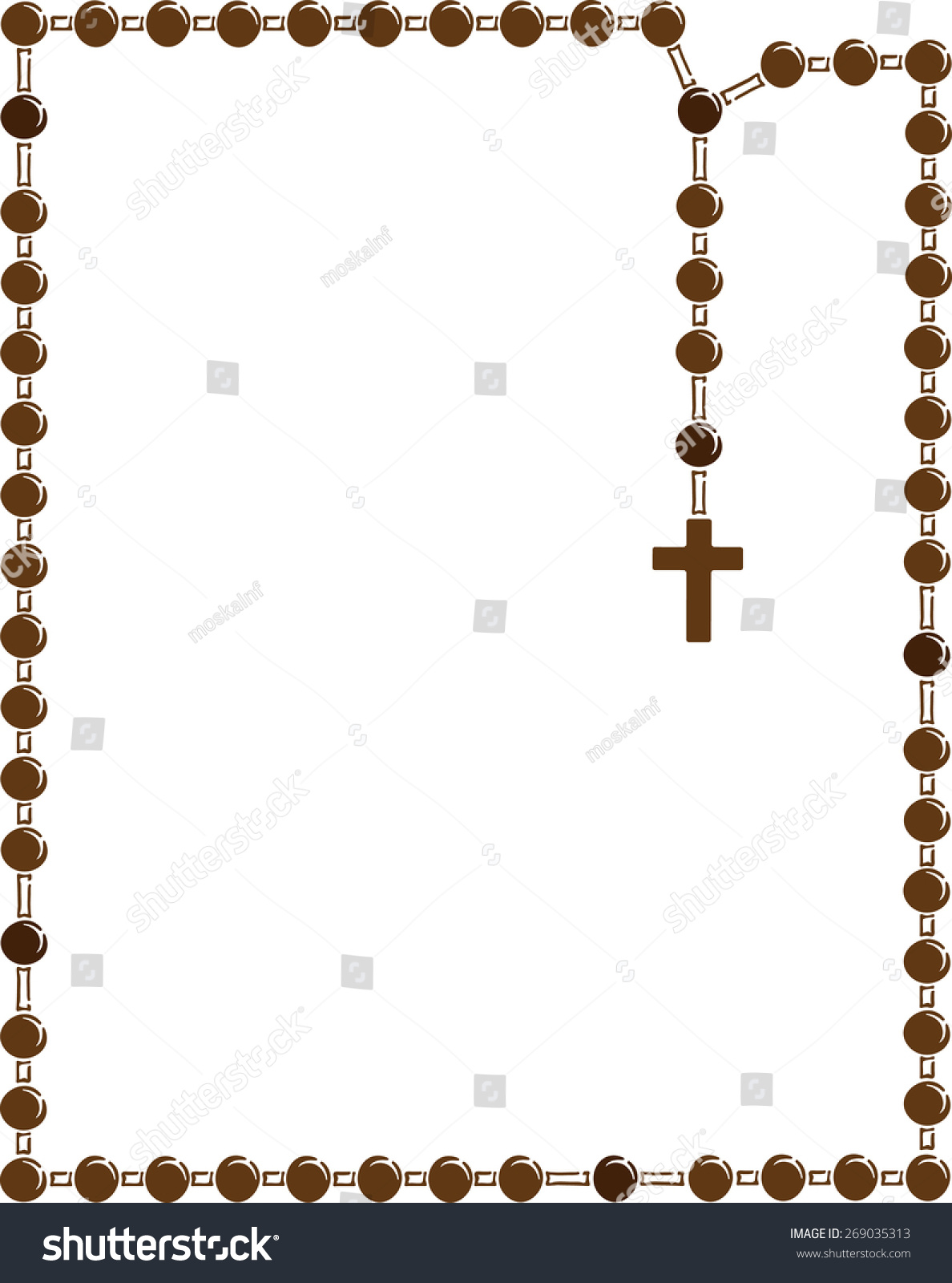 brown frame with rosary brown wooden catholic rosary beads religious symbols