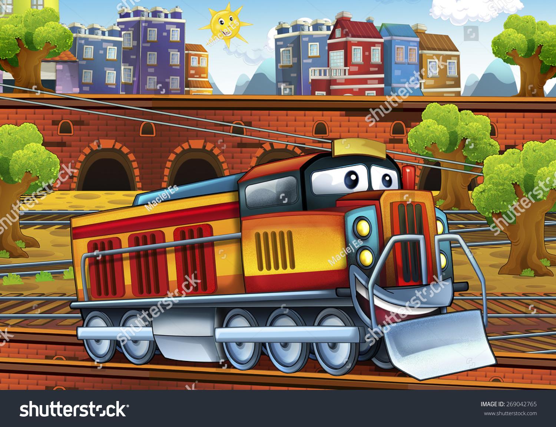 cartoon electric train train station illustration stock