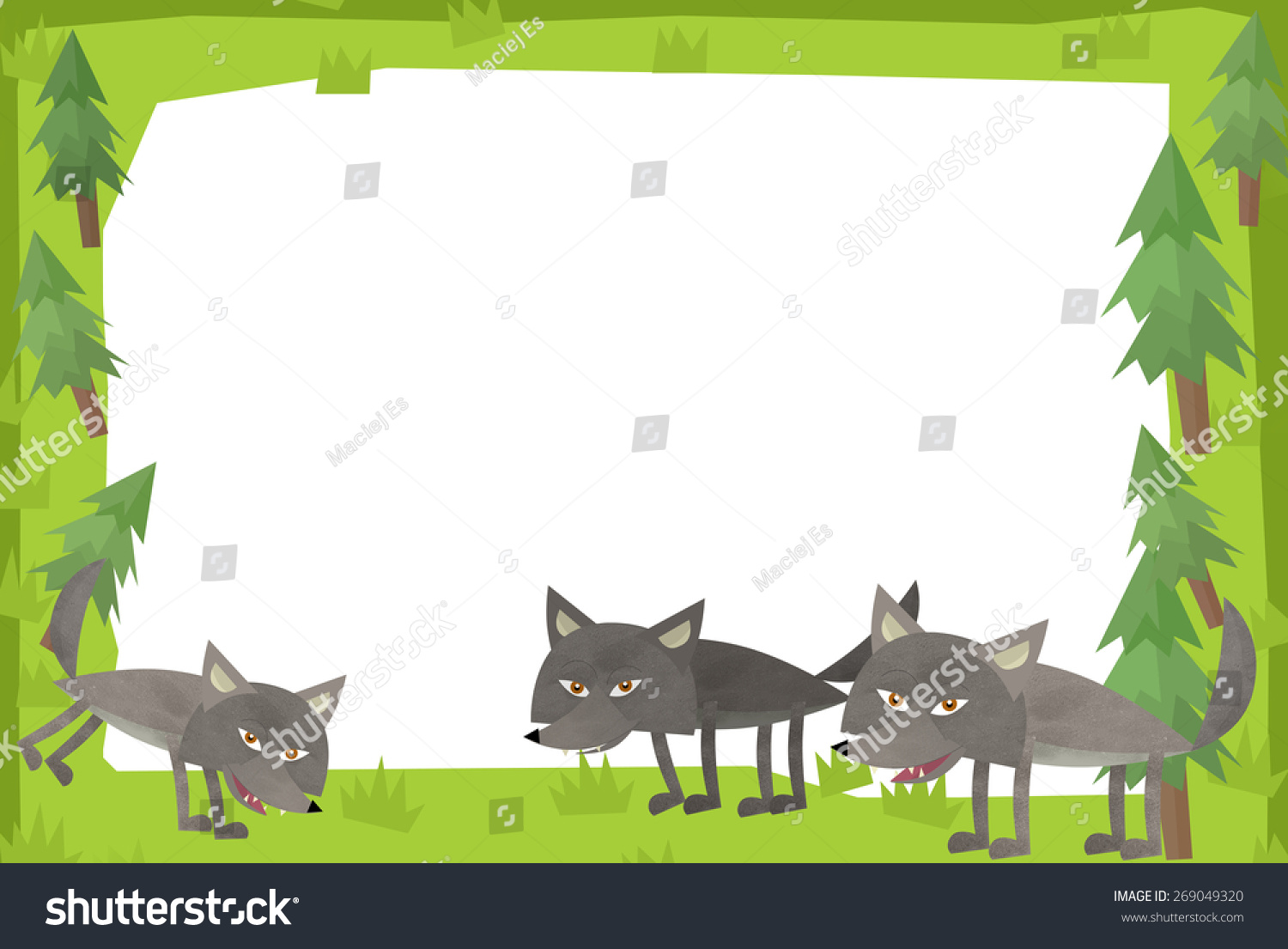 Cartoon Nature Frame Horizontal Wolfs Forest Stock Illustration ...