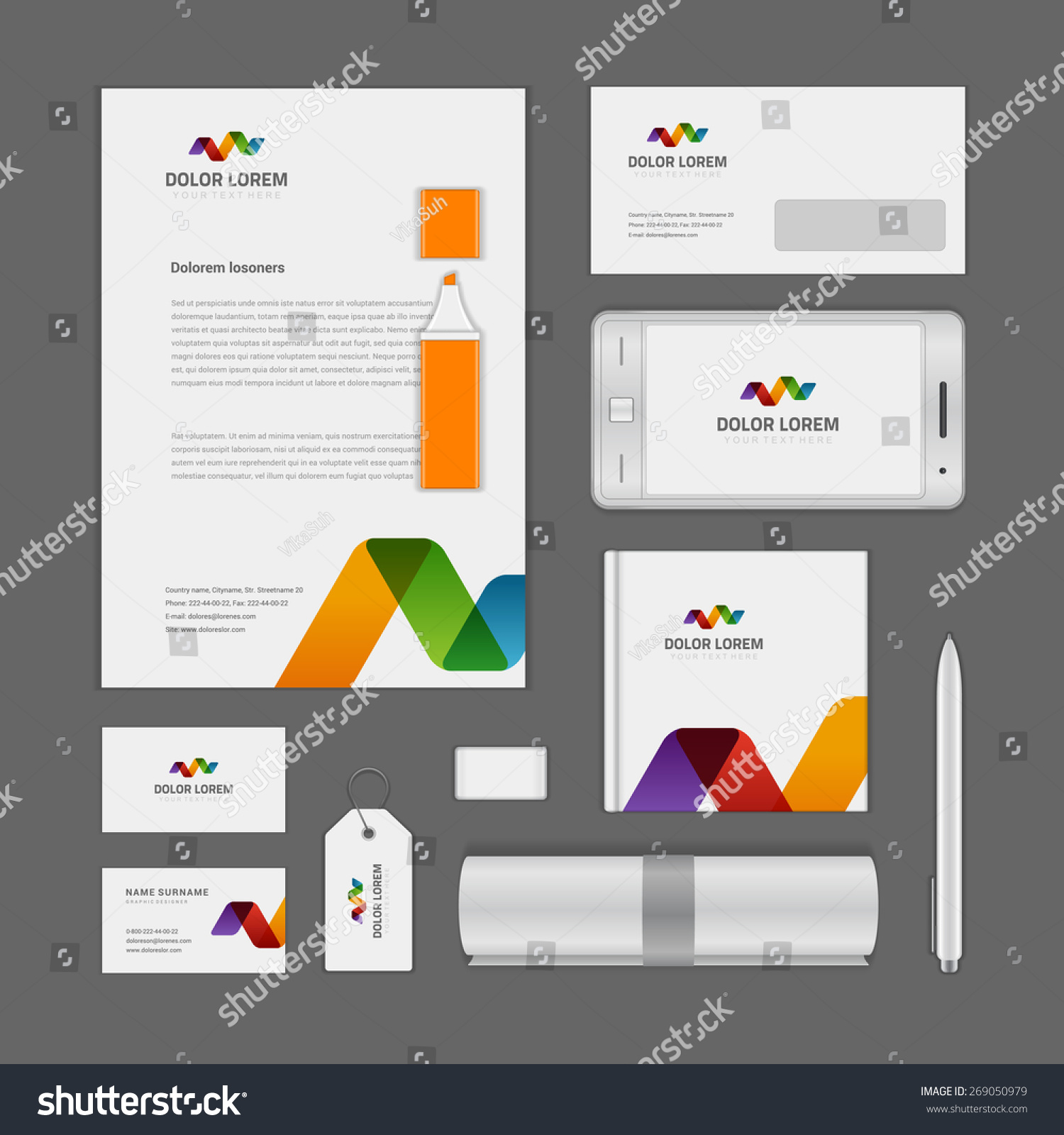 Abstract Logotype Corporate Identity Template Mock Stock Vector ...