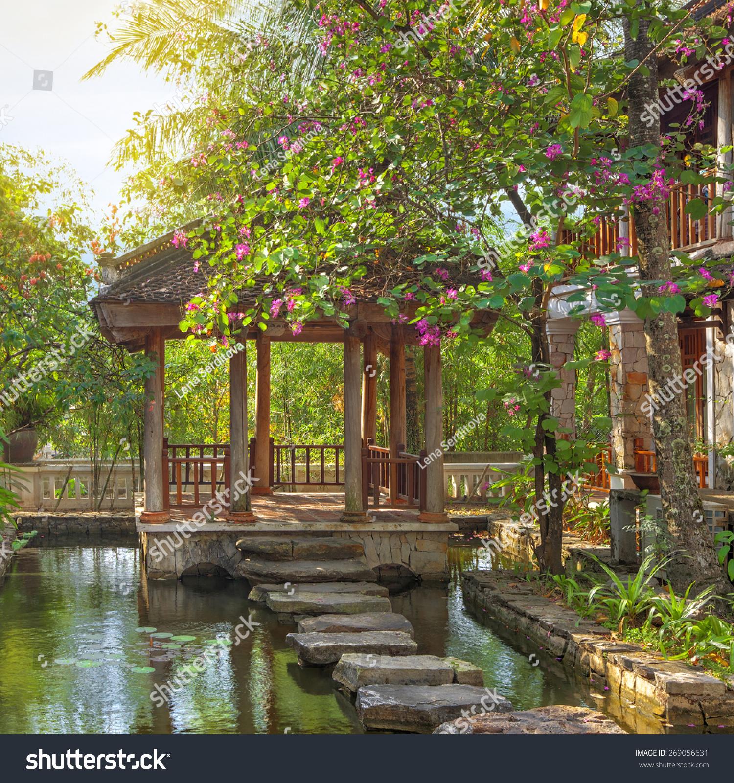 Asian Tropical Garden Traditional Bridge Buildings Stock Photo (Edit ...