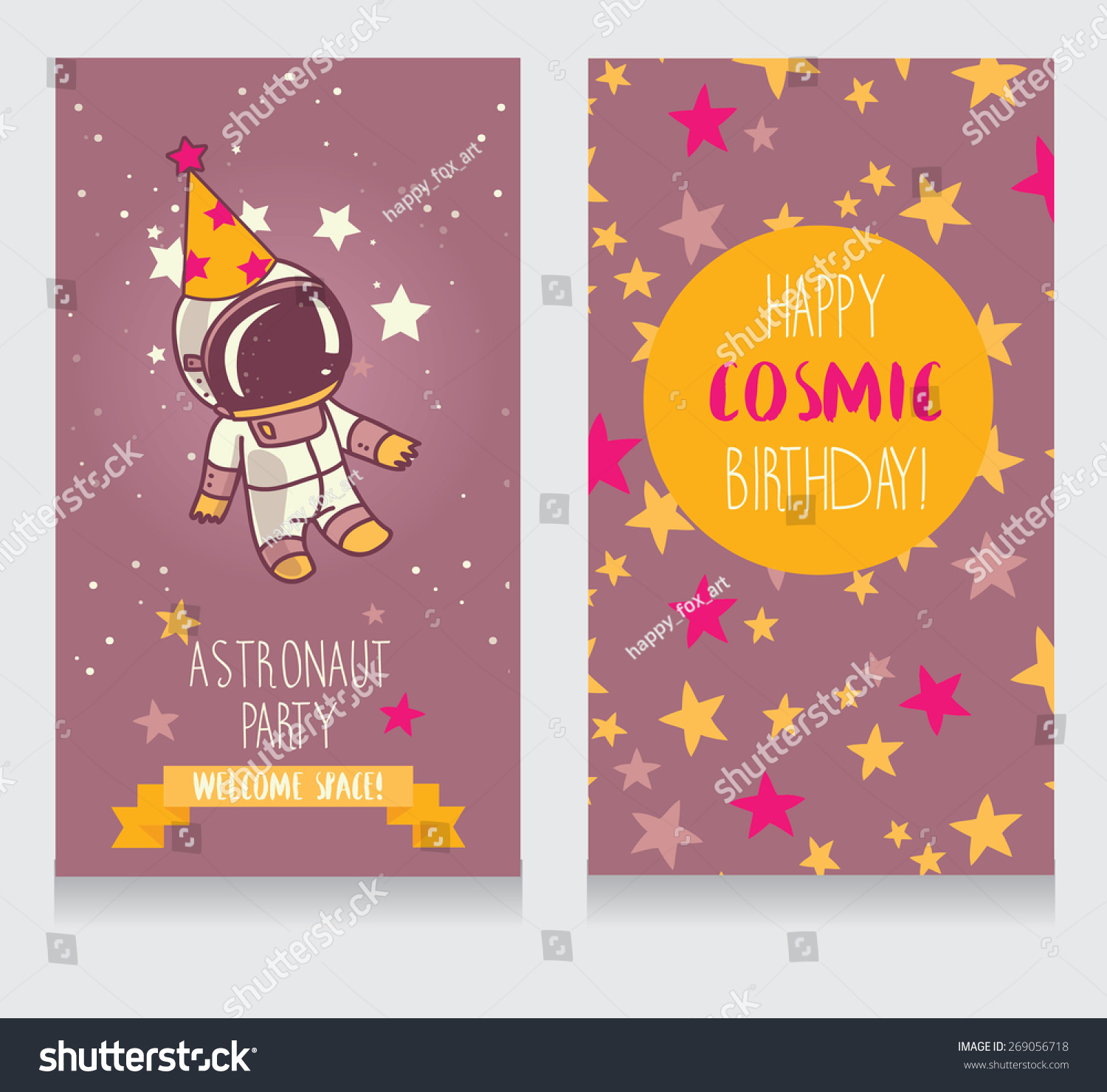 Cute Astronaut Party Hat On Starry Stock Vector Royalty Free