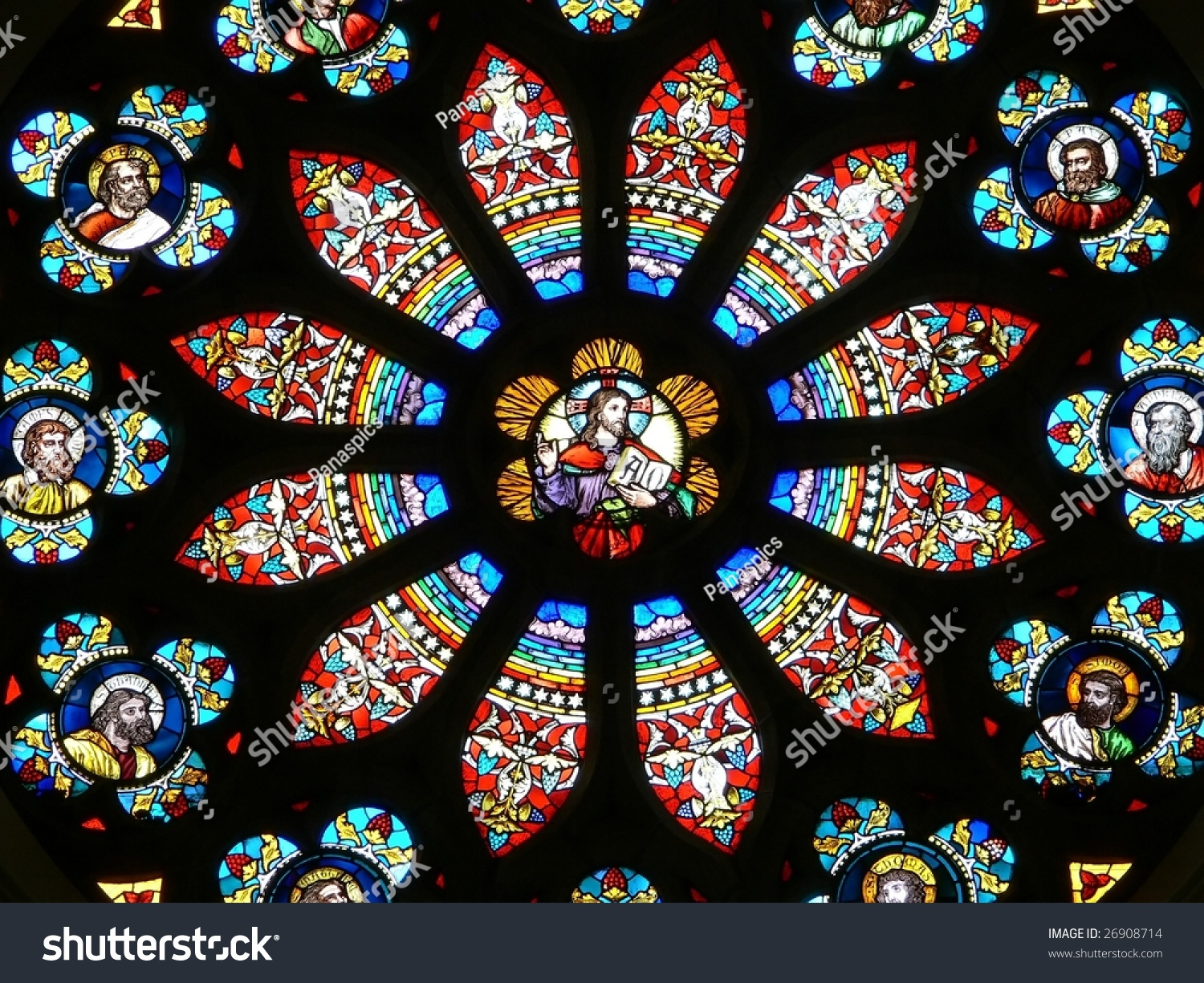 Circular Stained Glass Window Stock