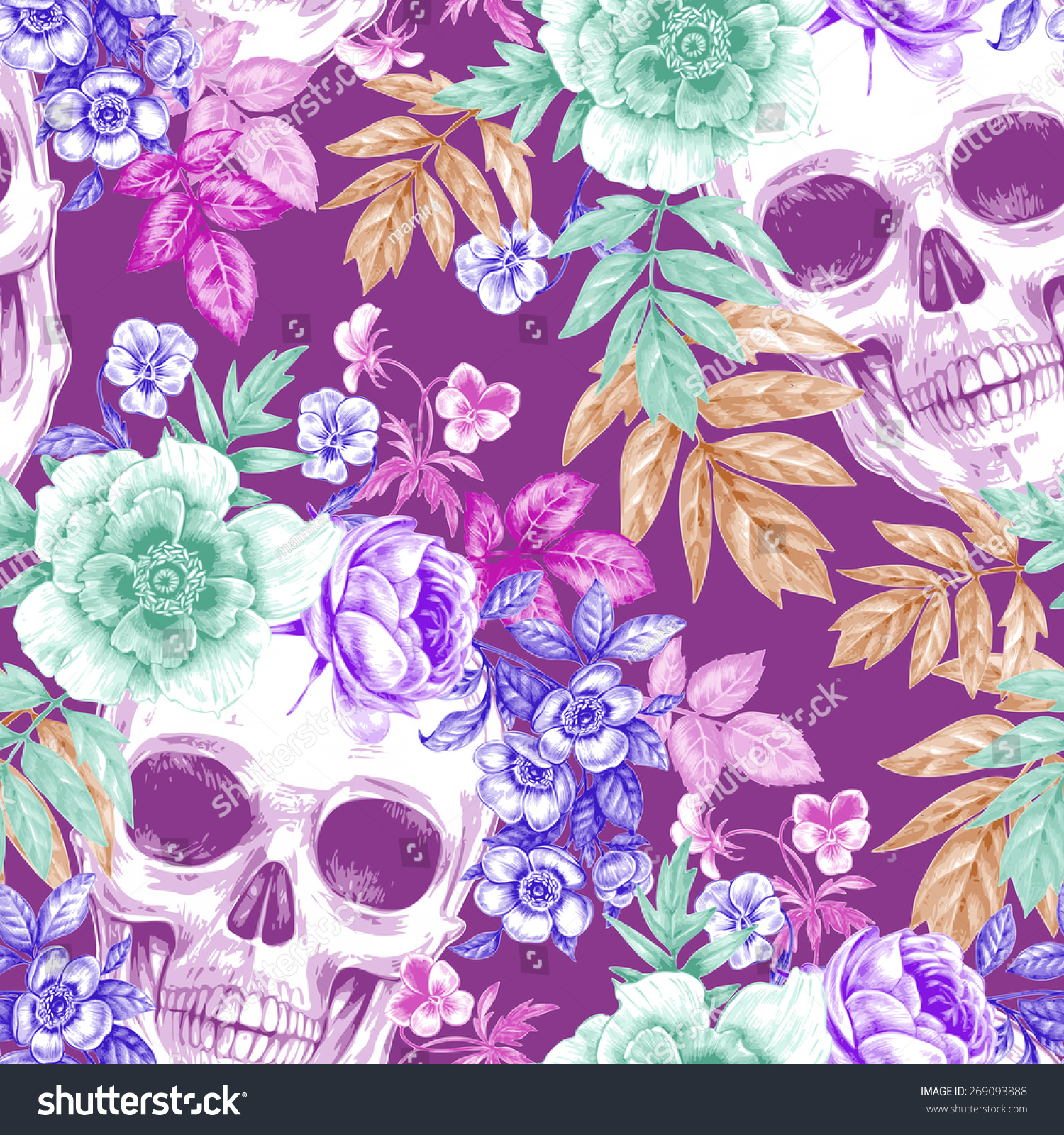 Vector Seamless Background. Wreaths Of Garden Flowers And