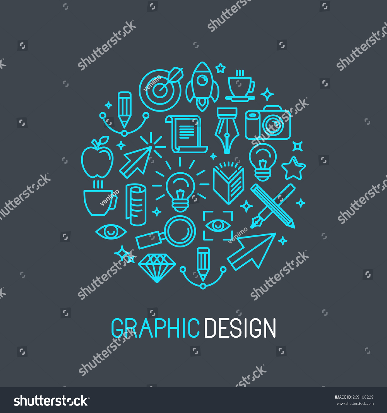Linear Line Graphic Design Elements & Infographic Template ...  |Linear Graphic Art