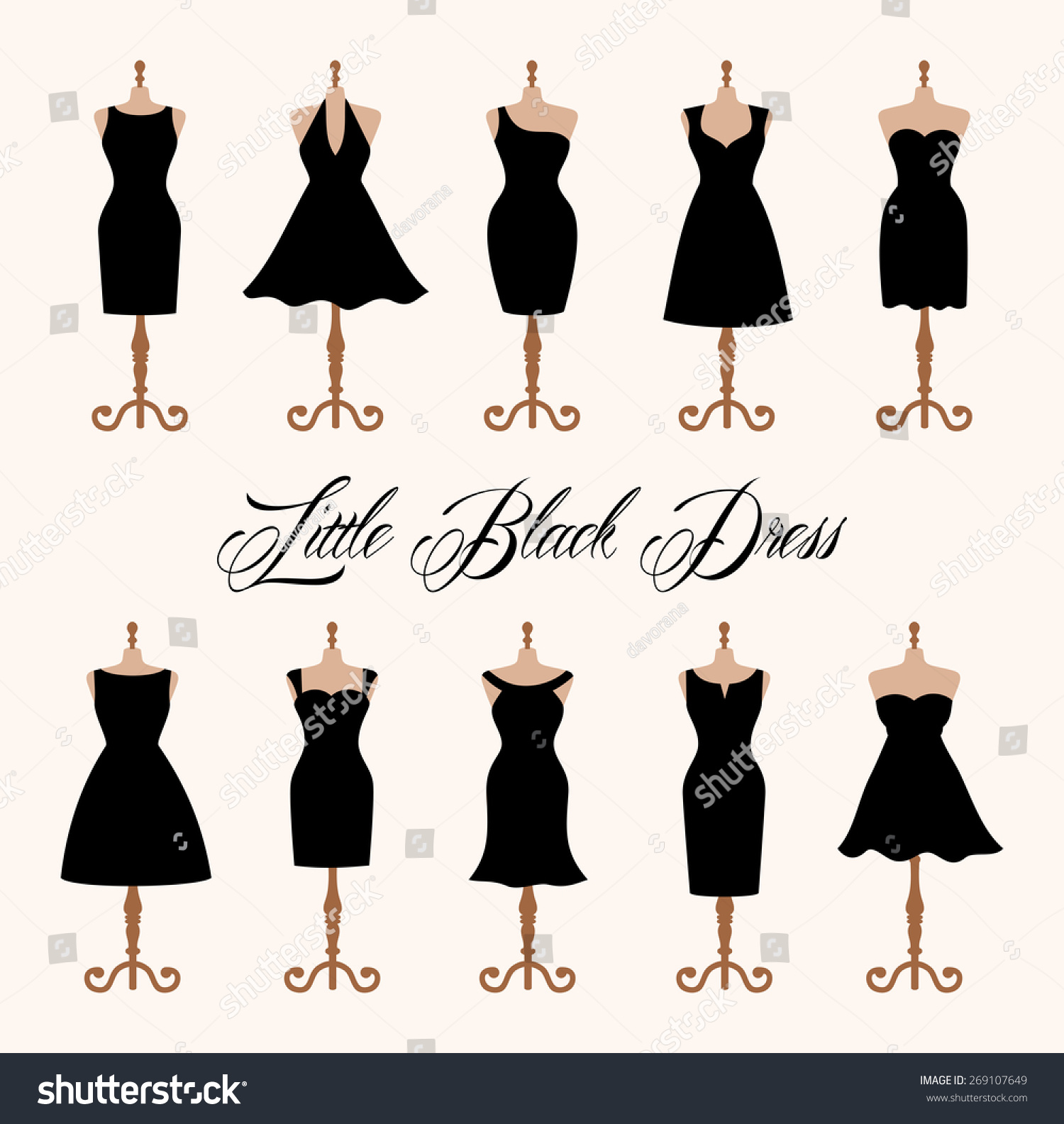 Little Black Dress Fashion Boutique Set Stock Vector 269107649 ...