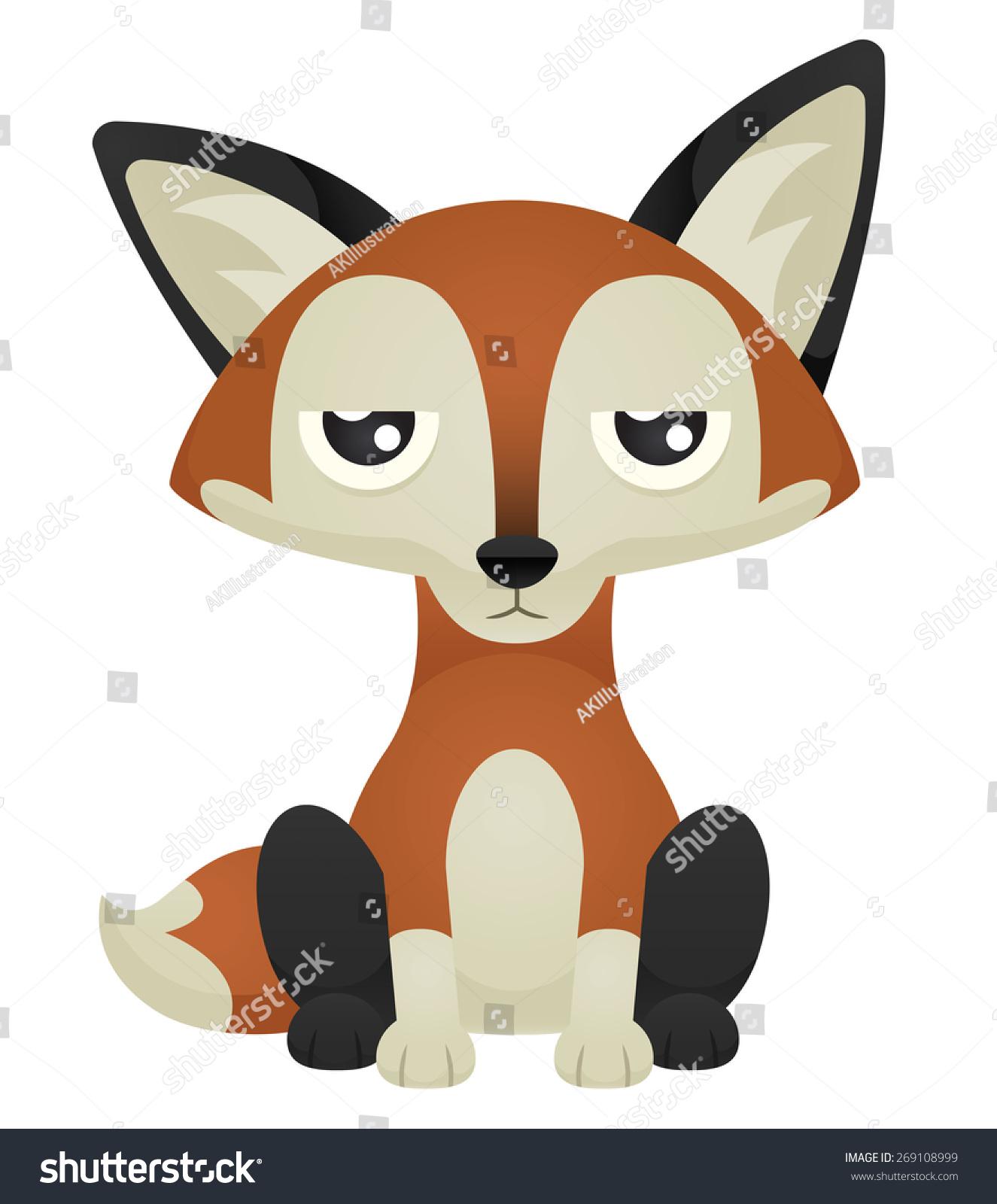 Sitting fox illustration - photo#23