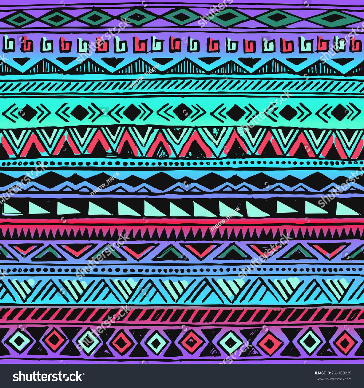 colorful neon tribal navajo pattern fresh summer aztec
