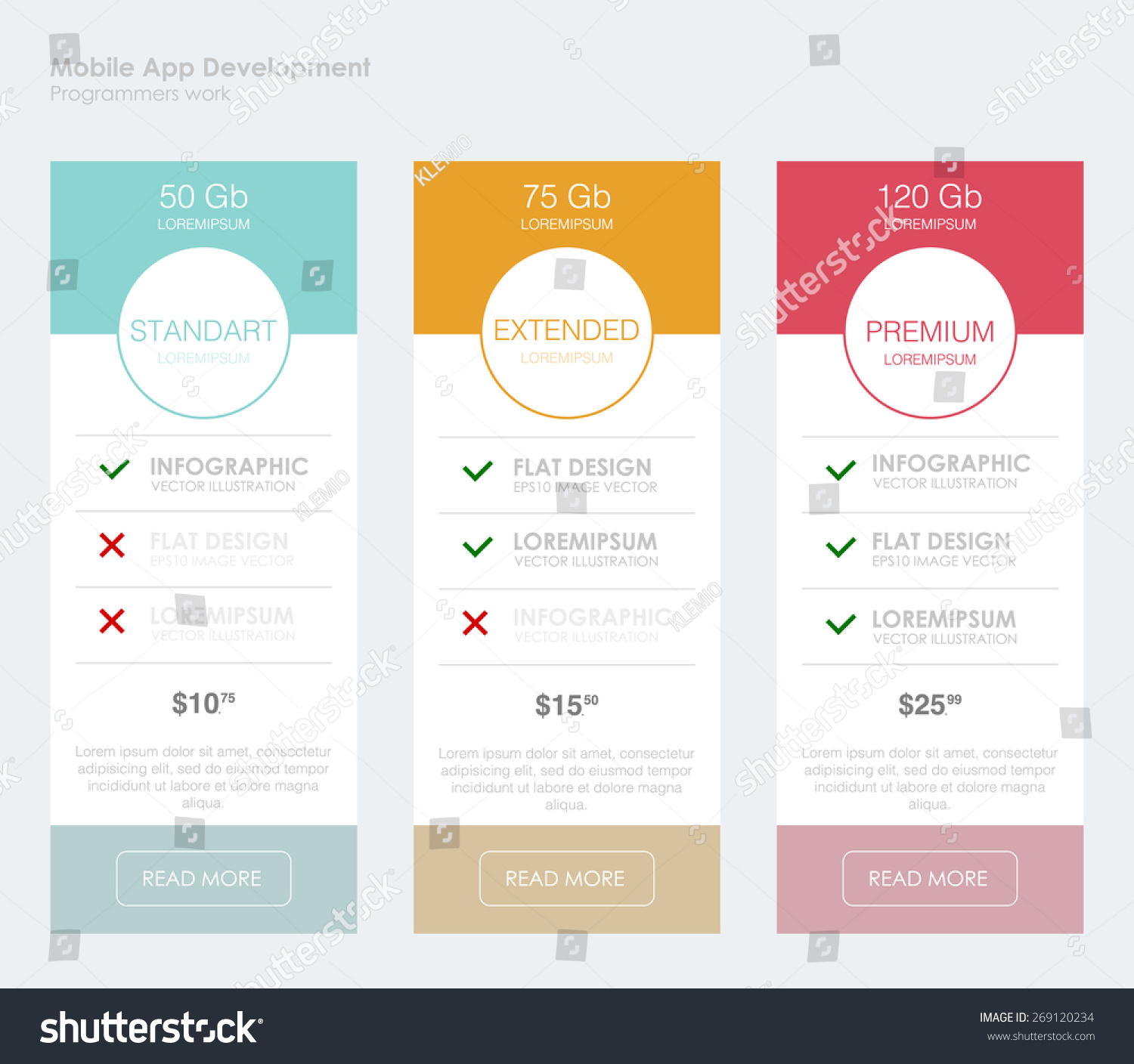 Three tariffs interface site ui ux stock vector 269120234 shutterstock for Table website