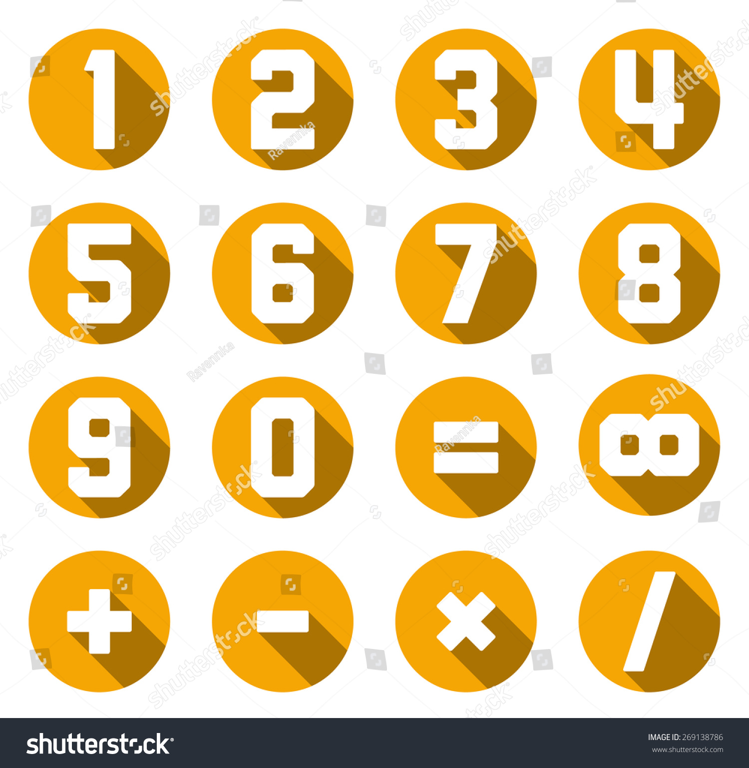 Set Of Isolated Yellow Flat Numbers And Math Symbols Ez Canvas