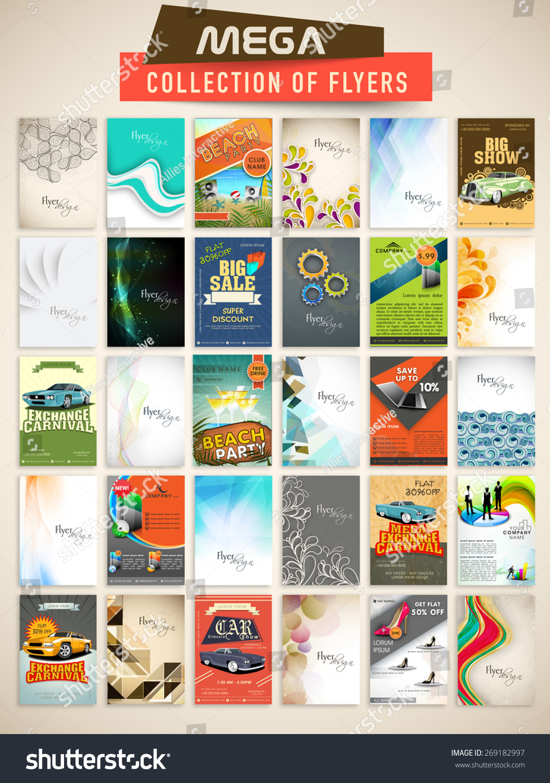 Mega Collection Stylish Flyers Different Business Vectores En Stock ...