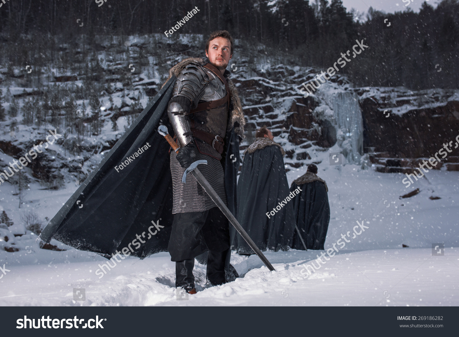 medieval knight with sword in armor as style game of. Black Bedroom Furniture Sets. Home Design Ideas
