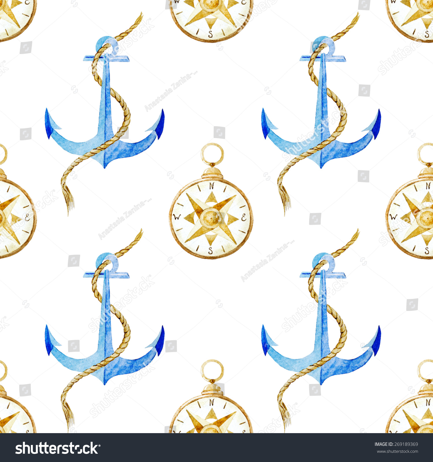 Watercolor, anchor, wallpaper, background, pattern, compass.