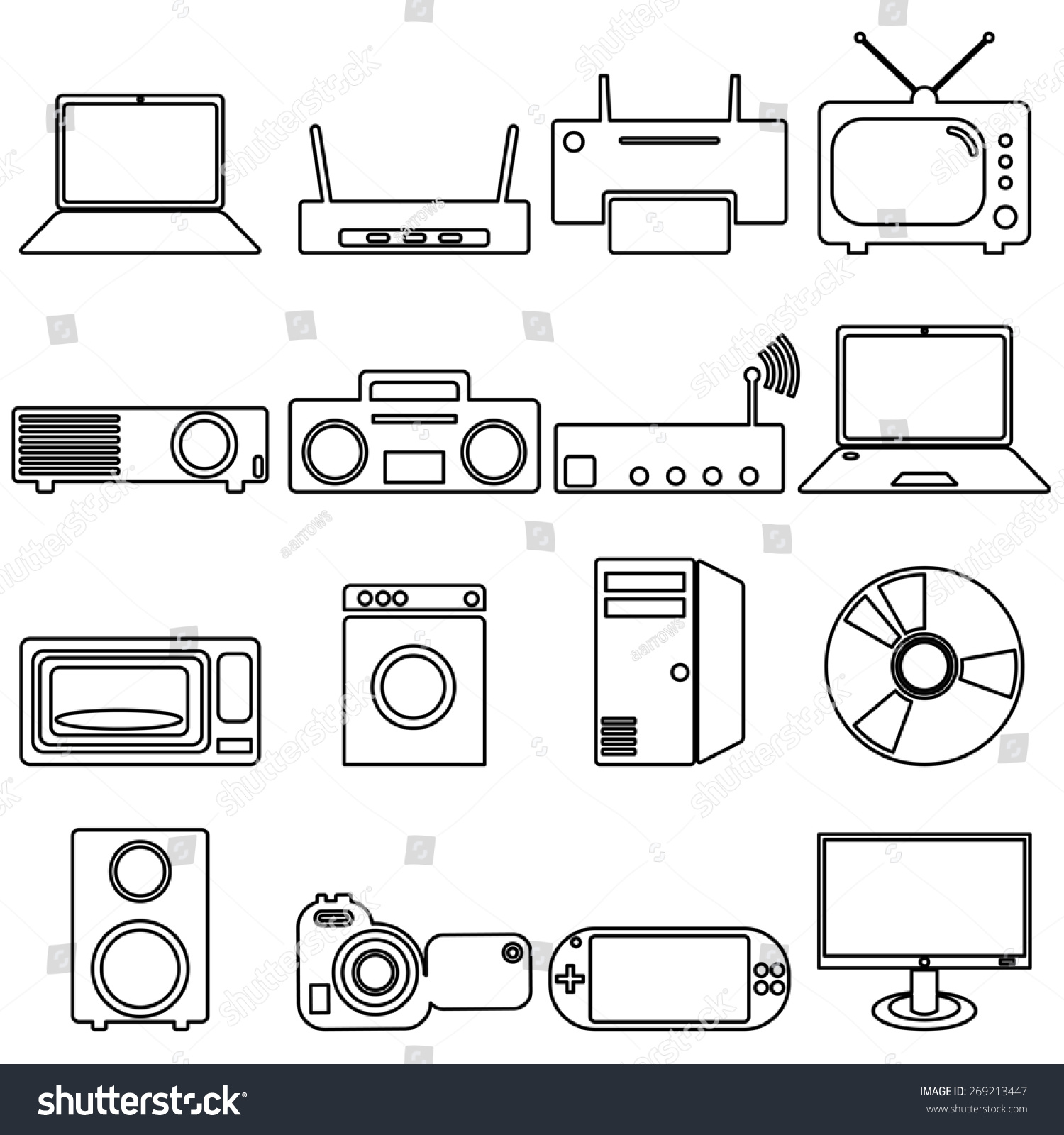 Collection Flat Icons Long Shadow Electrical Stock Illustration ...