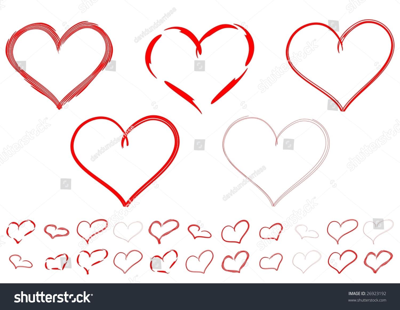 Hearts Set Doodle Style Ez Canvas