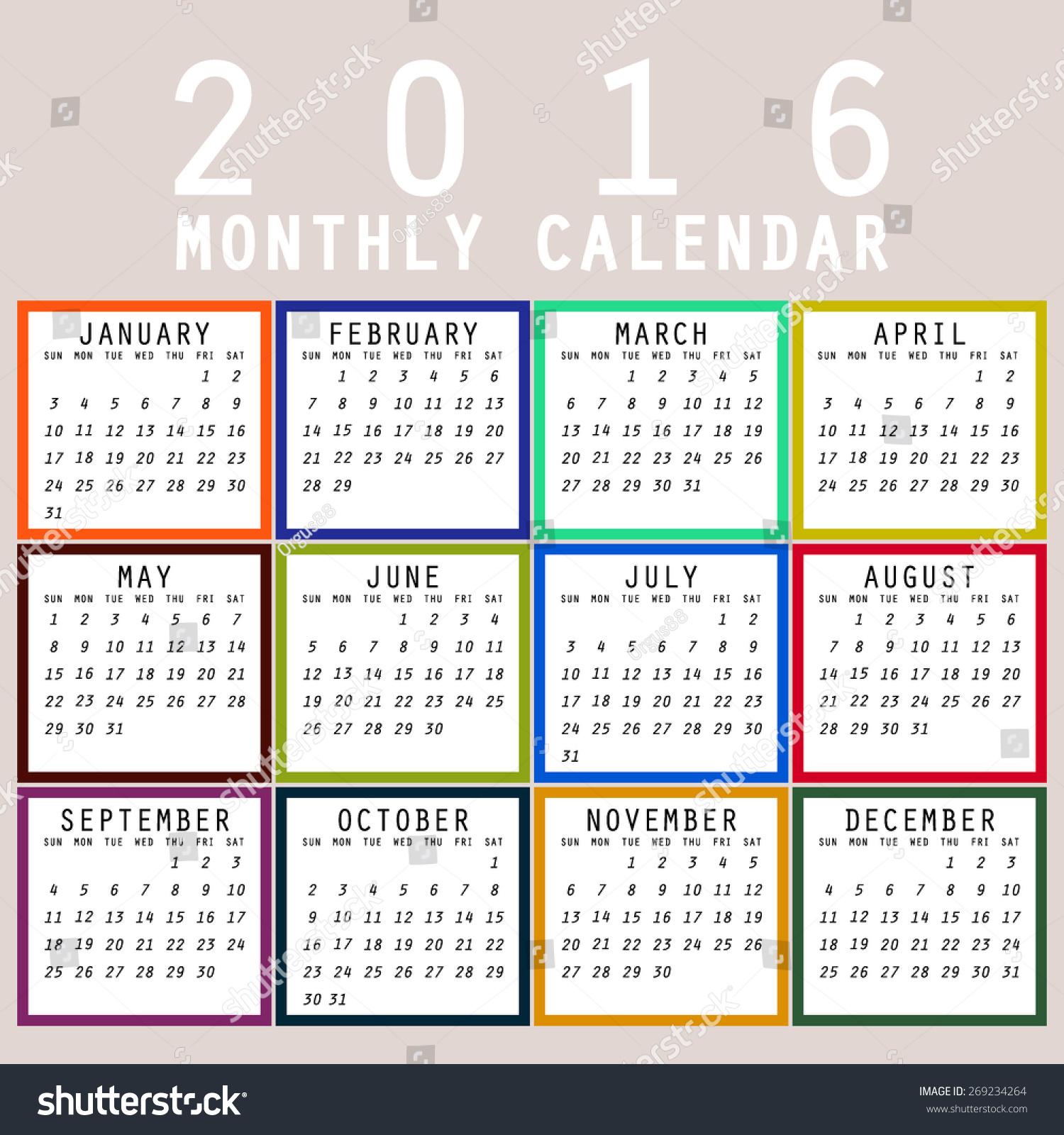 simple 2016 calendar 2016 calendar design stock vector 269234264