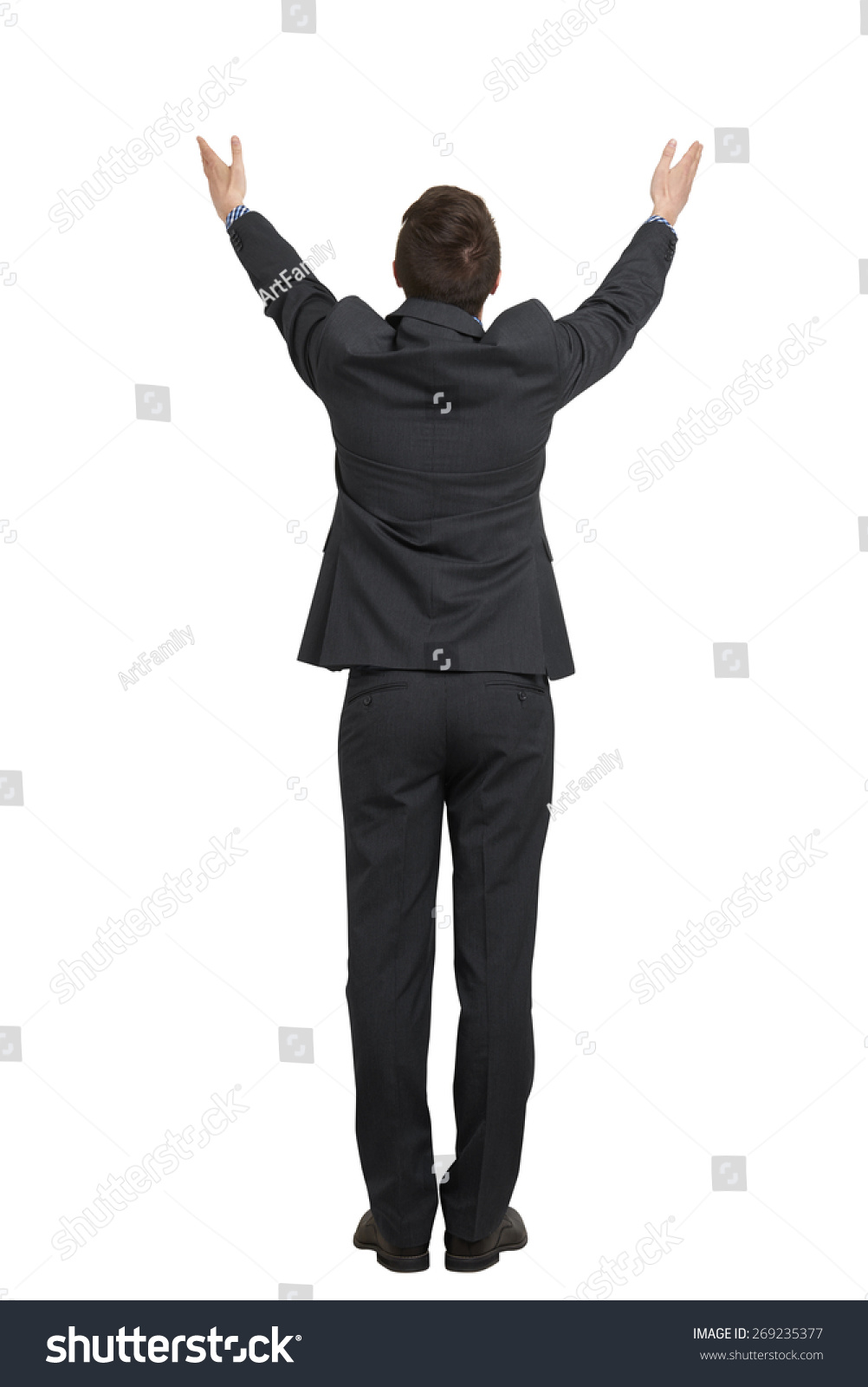 Back View Man Black Suit Raising Stock Photo 269235377 ...