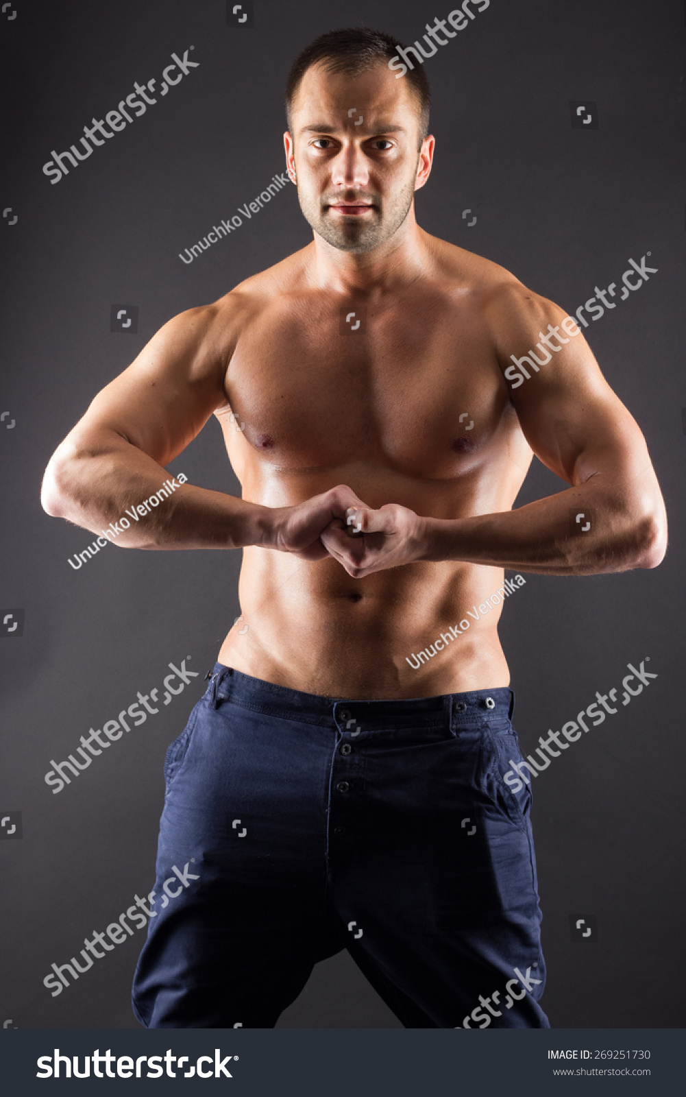 Unrecognizable Young Man With Naked Muscular Torso Stock