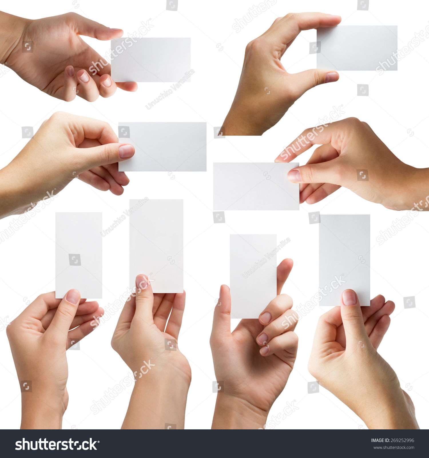 Hands Holding White Business Card Gift Stock Photo 269252996 ...