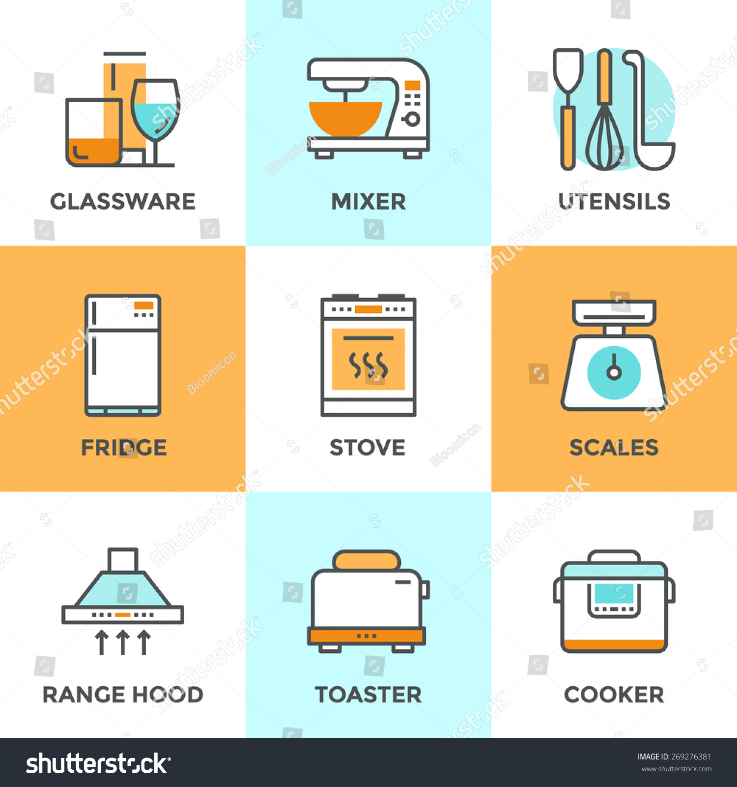 Line Icons Set With Flat Design Elements Of Kitchen Utensils Glassware And Home Appliance