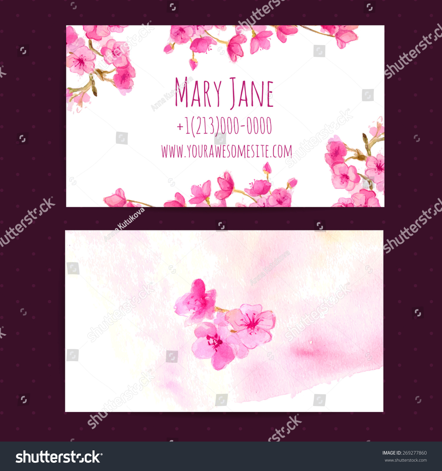 Business Card Vector Template Pink Cherry Stock Vector HD (Royalty ...