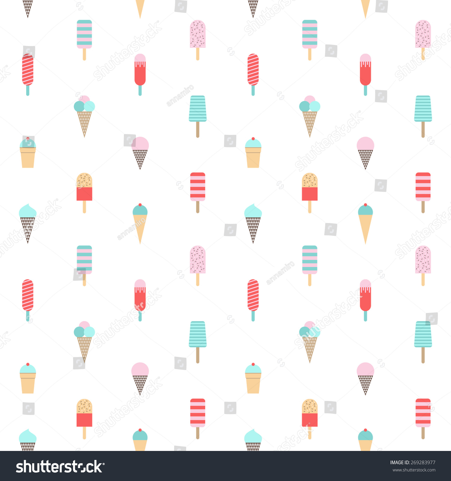 Pattern Cute Colorful Ice Cream Textiles Stock Vector: Ice Cream Pattern Seamless Background Vector Stock Vector