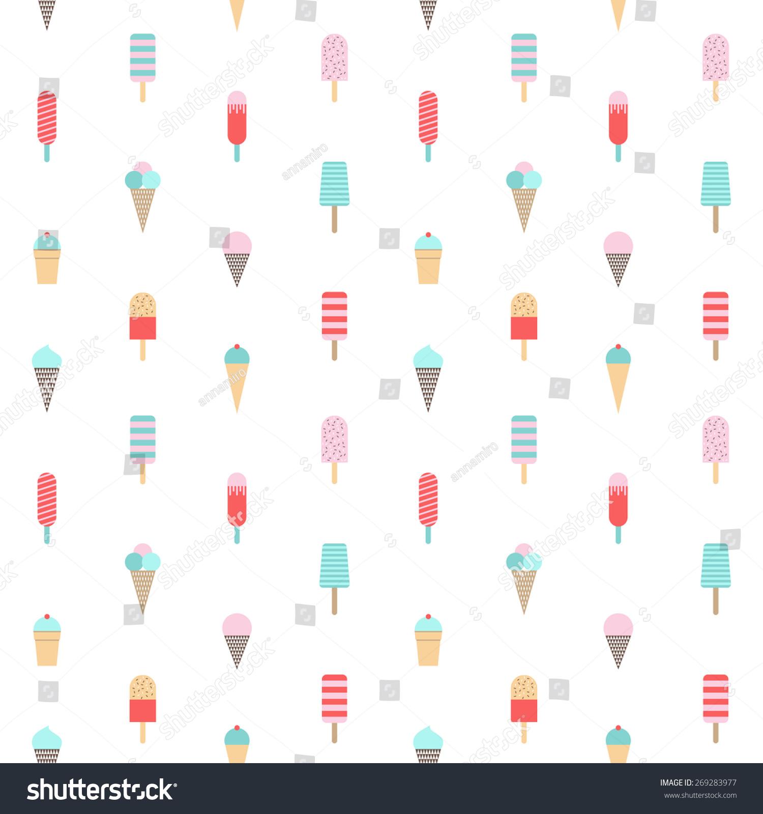 Seamless Ice Cream Background: Ice Cream Pattern. Seamless Background. Vector