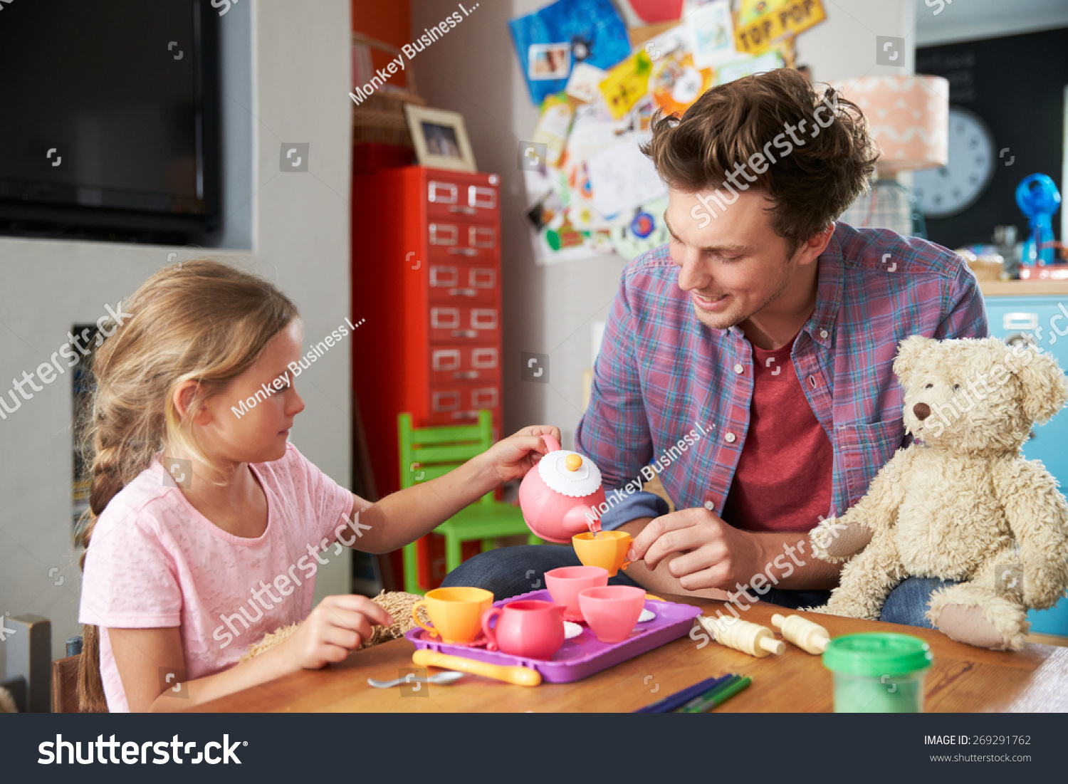 Toys For Dads : Father playing game daughter toys bedroom stock photo