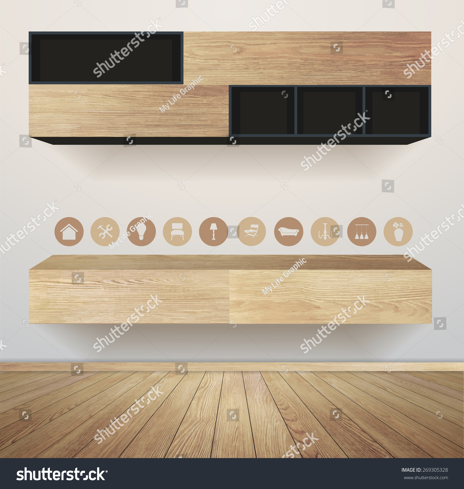 Living Room Interior With Furniture Flat Icons Vector Illustration Modern  Template Design