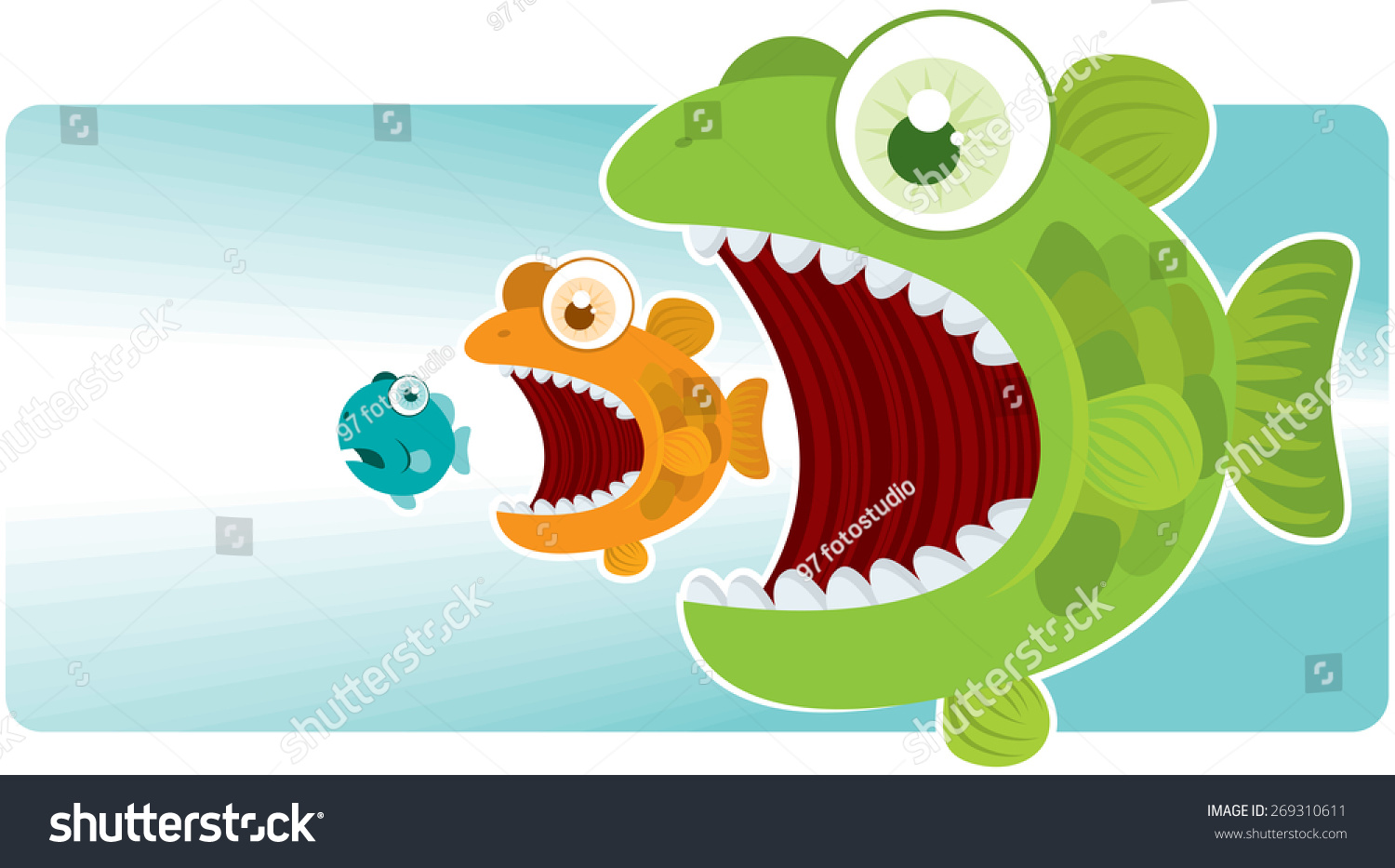 Big Fish Eat Small Fish Stock Vector Illustration