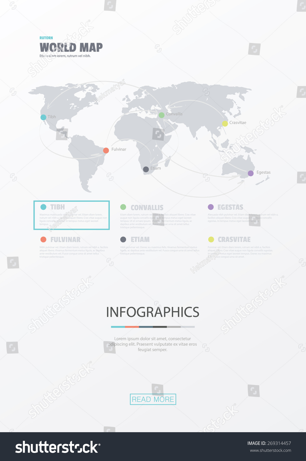 World map flat web design website stock vector 269314457 shutterstock world map flat web design website infographics business vector elements use for data gumiabroncs Choice Image
