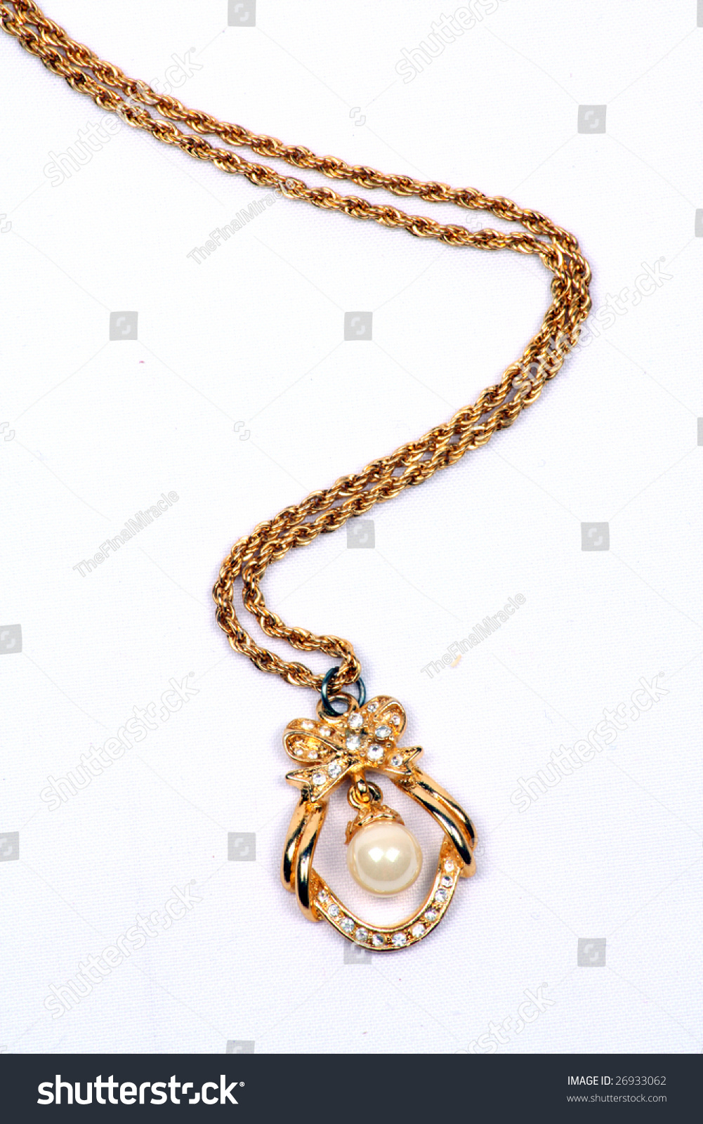 Ethnic Gold Necklace Pearl Pendant Traditional Stock Photo Edit Now 26933062
