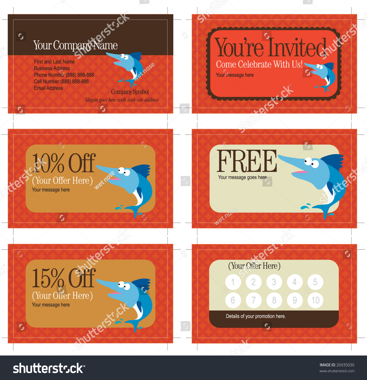 35 X 2 Business Card Promo Cards Includes Stock Vector 26935030 ...