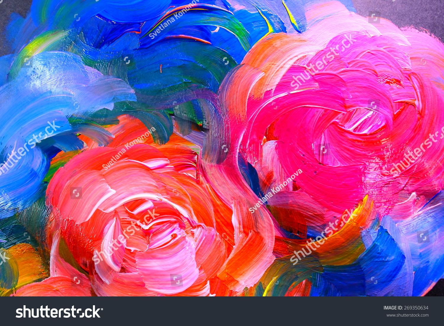 Abstract acrylic painting flowers on black stock for Acrylic painting on black background