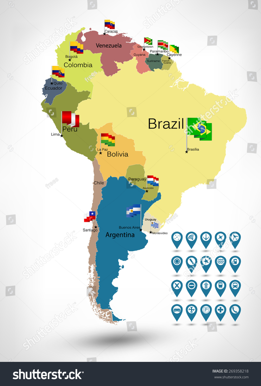 South America Detailed Continent Political Map Stock Vector - Argentina map continent