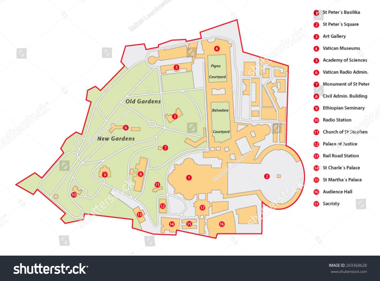 Vatican City Map Stock Vector 269368628 Shutterstock