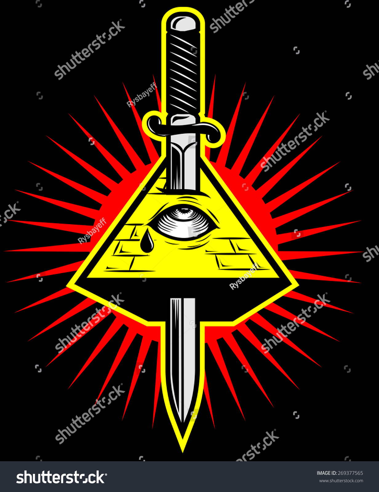 Pyramid Eye Killed By Sword New Stock Vector Royalty Free