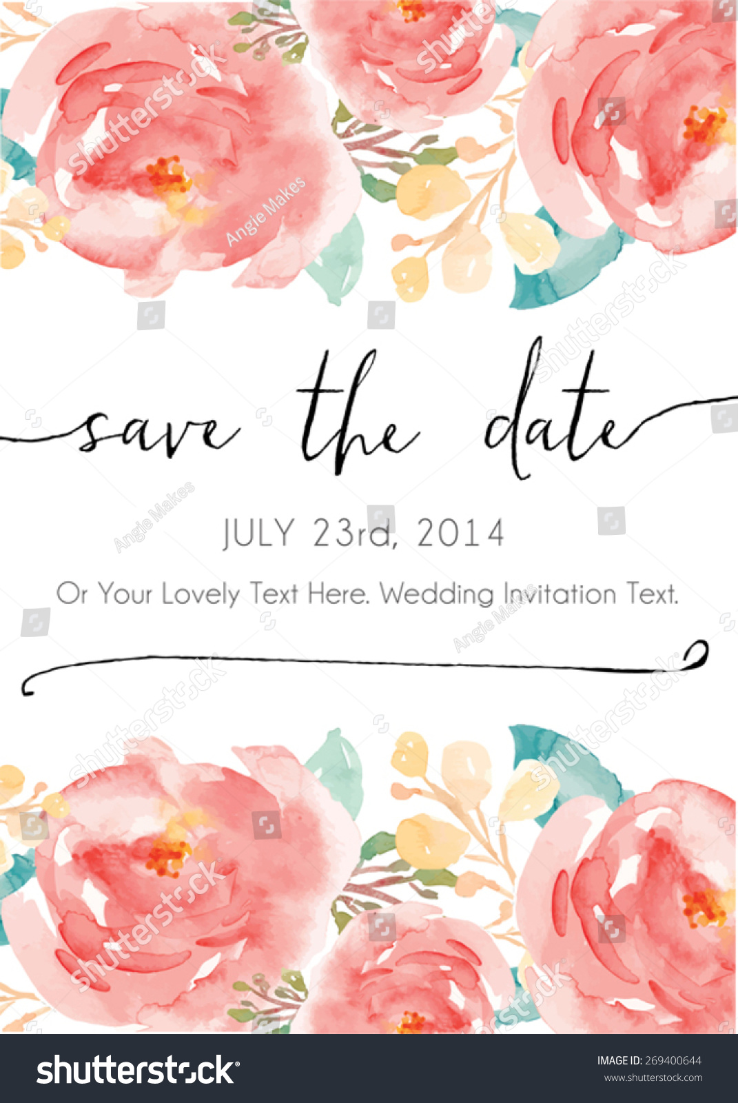 Royalty free save the date watercolor vector 269400644 stock photo save the date watercolor vector invitation 269400644 stopboris Image collections