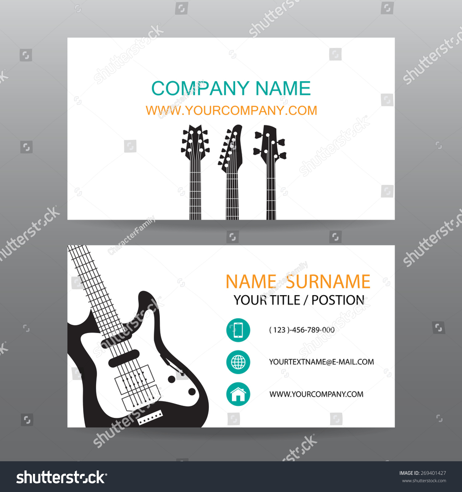 Business Card Vector Background Musician Stock Vector 269401427 ...